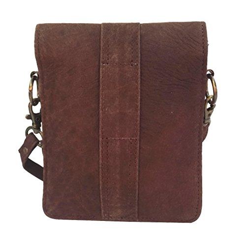 "Mad Over Shopping, Nuevos bolsos marrones Bolso de cintura de honda de cuero genuino Bolso pequeño Fanny Pack 6.5 ""Funda de teléfono Bolso diario"