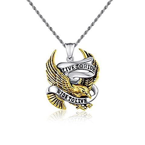 Mens Stainless Steel Casting Eagle Pendant Necklace with Free Chain 24 inches,Silver Gold,39.2*32mm