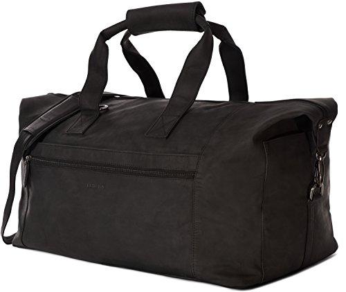 LEABAGS Dubai Reisetasche Handgepäcktasche Sporttasche aus echtem Leder im Vintage Look - Schwarz -
