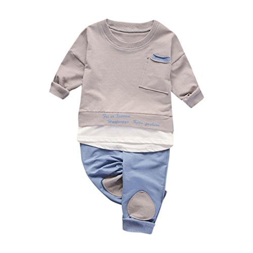 Bekleidung Longra Baby Kinderkleidung für Mädchen Jungen Langarm Tops Shirt + Hosen 2Pcs Set Anzug Outfits Kleidung(0-3Jahre) (80CM 6-12Monate, Khaki) (Baby-jungen-langarm-hose)