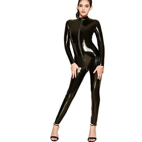IMEKIS Damen Latex Catsuit Ouvert Reißverschluss Body Wetlook Bodysuit Dessous Nachtwäsche Langarm Einteiler Overall Jumpsuit Playsuit Hosenanzug Cosplay Catwoman Kostüm Clubwear Reizwäsche Schwarz - Vintage Catwoman Kostüm