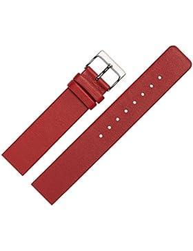 Uhrenarmband 14mm Leder glatt rot - Ersatzband angepasst für Skagen Uhren mit Spezialanstoß (verschraubte Gehäuse...