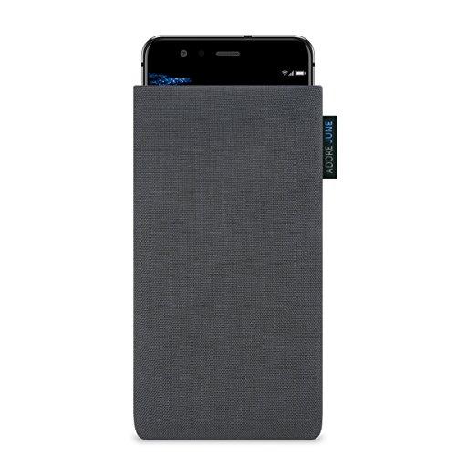 """Huawei P10 Lite Hülle, Adore June Schutzhülle """"Classic"""" original Cordura Textil-Stoff, Tasche Handytasche für Huawei P10 Lite mit Display-Reinigungseffekt in dunkelgrau"""