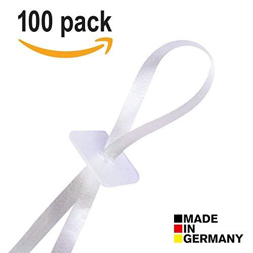 100 Premium Ballonverschlüsse mit Band für Ballons mit Helium oder Luftbefüllung | Luftballon Schnellverschluss für alle Luftballons geeignet mit hochwertigen Ballonbändern | Made in Germany