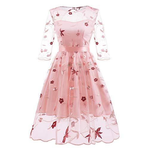 (OverDose Damen Frauen Damen Mode Vintage Prinzessin Blumenspitze Cocktail Maskerade Jäten Dünne Elegante Oansatz Partei Aline Swing Kleid)