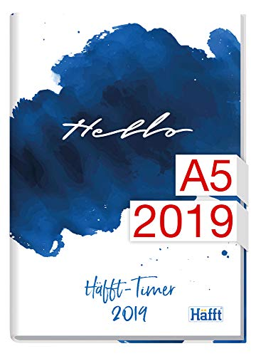 Häfft-Timer A5 JANUAR - DEZEMBER 2019 [Hello], Fadenheftung, Hardcover