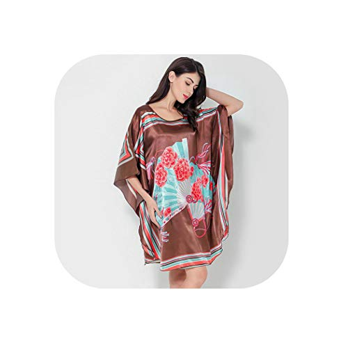 Abenddämmerung Fort Frauen Sommer-Lounge Robe Heim Kleid Nachthemd lose Nachtwäsche,Stil B-6,eine Größe -