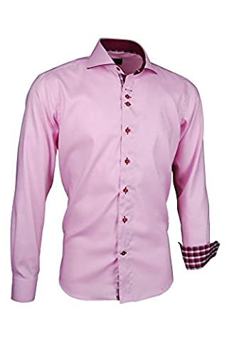 Giorgio Capone Herrenhemd, 100% Baumwolle, Rosé, Haifischkragen mit lila Biese, Langarm, Slim/Normal & Regular-Plus Fit (L (Easy Care Leinenhemd)