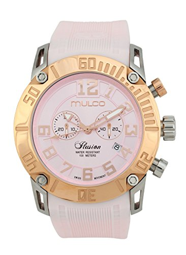 Mulco Women's Ilusion Pink Silicone Band Steel Case Swiss Quartz Analog Watch MW311011083