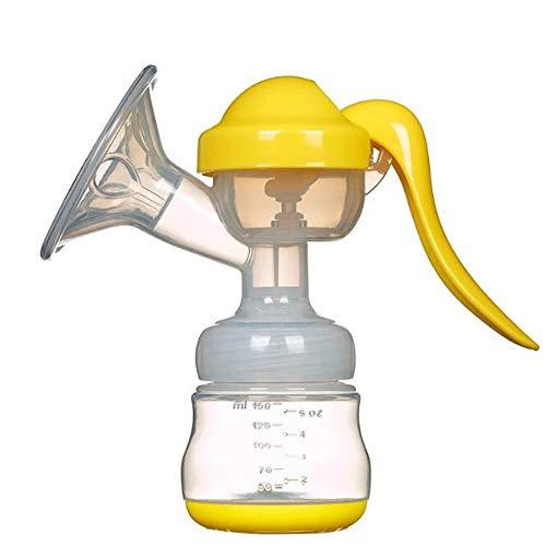 TTTAJ Manuelle Milchpumpe Komfortabel BPA-frei und 100% lebensmittelechtes Silikon mit 1 Fütterung Flaschen,Silikon Schnuller und Staubabdeckung,Yellow