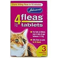 Johnsons 4fleas Tablets para gatos y gatitos X 3tabletas 50g–Bulk Deal de 6x