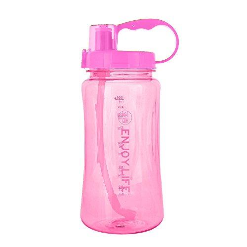 ,5 l, große Kapazität, BPA-frei, 1,5 l, mit breitem Mund, tragbar, große Kunststoffflasche, auslaufsicher, Weltraumbecher, Reisebecher mit Skala und Strohhalm ()