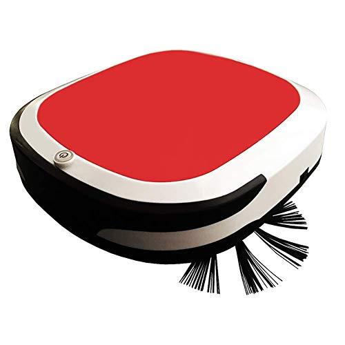 RANRANJJ Roboter-Staubsauger, super dünne Roboter-Staubsauger, mehr Reinigungsmodi/Automatische Selbstladeroboterstaubsauger for Haustier-Haar, Harter Boden Mittelhaarige Teppiche (Color : Red)