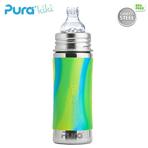 Pura Kiki Trinklernflasche - 325ml - XL Trinklernaufsatz (inkl. Schutzkappe) Pura Farbe/Design Blank + Blue Swirls Überzug