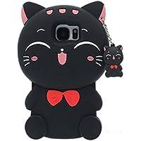 Hülle Case für Samsung Galaxy S7, Schutzhülle für Galaxy S7 Schwarz, Sehr hübsch 3D Kitty Katze Aussehen Hübsch Kitty Pendant Entwurf Weich Silikon Gel