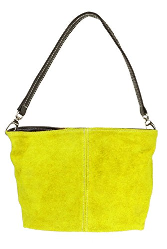 Girly HandBags Wildleder Umhängetasche Henkeltasche italienisch Tasche Gelb