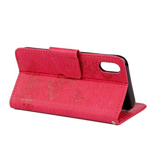 Für iPhone X,Sunrive Magnetisch Muster Schaltfläche Ledertasche Schutzhülle Etui Hülle Leder mit Standfunktion Cover Tasche Case Handyhülle Kartenfächer Kreditkarte Taschen Schalen Handy Tasche Flip W Prägung Blumen Schmetterlings Rote