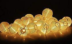 LED Lampion Lichterkette - 10,75 Meter, Mit Netzstecker NICHT batterie-betrieben, 20 LED Lampions warm-weiß