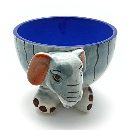 Unbekannt Lustige Müslischale für Kinder - verspielte Schüssel mit Tier Motiv als Elefant aus Keramik, robuste und langlebige Schale in Grau Blau, Ostergeschenk Ostern