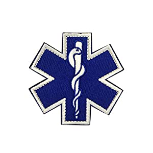 Cobra Tactical Solutions Star of Life Medic Bleu Cross Embroidery Patch with Hook & Loop for Airsoft Paintball