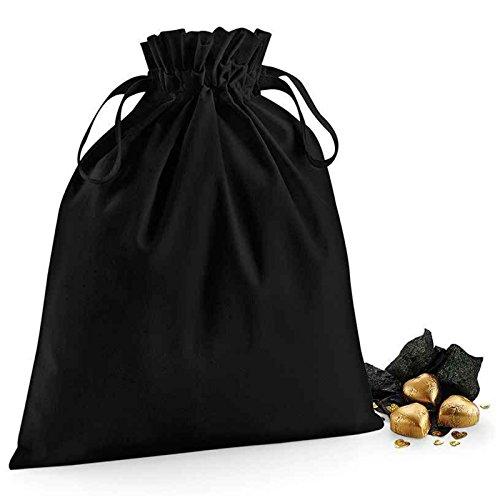 Westford Mill Organic Cotton Kordelzug Tasche selbst Stoff Double Kordelzug Verschluss 100% weiche Organische Baumwolle, Textil, schwarz, S (Kooba Handtasche Schwarz)