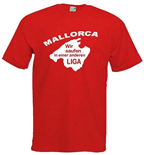 Mallorca T-Shirt, Wir saufen in einer anderen Liga, Malle-Party, Urlaub, Balearen, Premiumshirt von Bimaxx® Rot