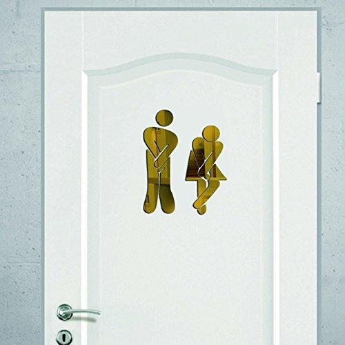 Westeng Wandaufkleber Kreative 3D Toiletten Männlichen und Weiblichen Logo Aufkleber Wandtattoos Wanddeko Dekoration für Bar WC Bad 17*5cm