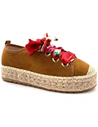 a8ba6b8de35c0a Angkorly - Scarpe Moda Scarpa Derby Espadrillas Zeppe Vintage/retrò Donna  Sciarpa Stampata con Paglia