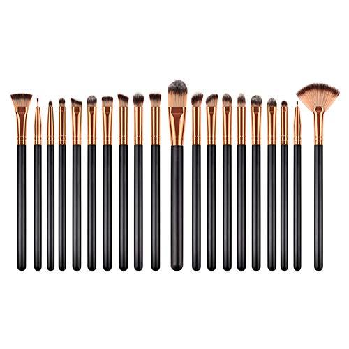 Cdet. 20Pcs Kit De Pinceau Maquillage en Oeil avec Manche en Bois Cosmétiques Brosse Ensemble Fondation Mélange Blush Yeux Visage Poudre Make Up Or Noir