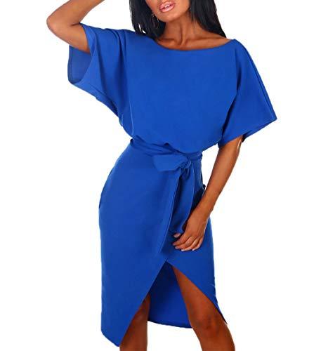 Rundhals Kurzarm Sommerkleid Asymmetrisch Schlitz Strandkleid Einfarbig Knielang Kleider Freizeitkleid mit Gürtel Partykleid (Blau, S) ()