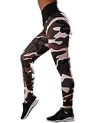 5b7cda54e MEIbax Leggings Deportes Pantalones para mujeres de Camuflaje Estampado de  Cintura Alta Gimnasio Athletic Entrenamiento Fitness