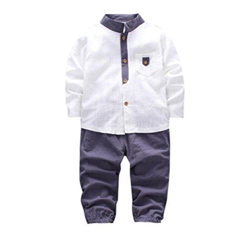 URSING 2pcs Baby Jungen Gentleman Outfits Set Kleinkind Schöne weiße lange Hülse T-Shirt Tops mit Pocket + Lange Hosen Kleider Neugeborene Party Outfit Bekleidung Sets (110, Weiß)