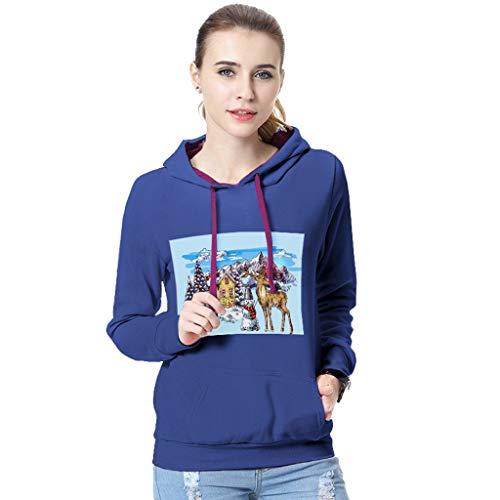 Preisvergleich Produktbild Tianwlio Damen Lässige Langarmshirt Hoodie Pullover Herbst Winter Weihnachten Drucken Langarm Kapuzenshirt Sweatshirt Bluse Blau XL