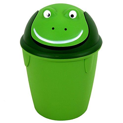 Preisvergleich Produktbild Papierkorb H 41 cm Kunststoff Korb Abfallkorb Papiereimer Mülleimer Eimer (grüner Frosch)