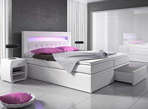 Boxspringbett 160x200 Weiß mit Bettkasten LED Kopflicht Kunstleder Hotelbett Polsterbett Venedig