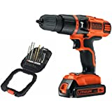 Black   Decker 18V Lithium Ion 2 Gear Hammer Drill and 16 piece accessory Set Bundle