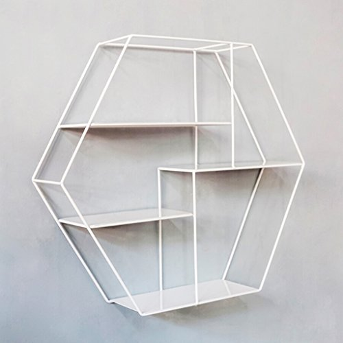 JH Hexagon Wandregal Metall Eisen   Wandbehang Cube Regal für Schlafzimmer als Bücherregal...