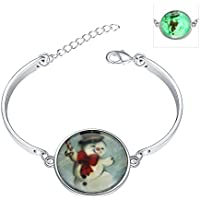 lureme® Nuovo Magical Glow in the Dark Luminous Natale Snowman Charms Bracelets(06002980-3)