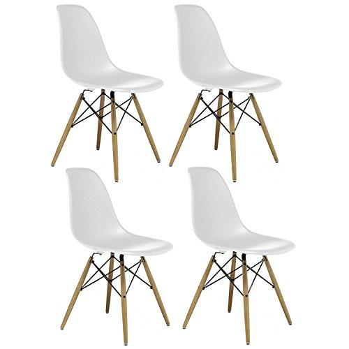 nspiriert Eiffelturm Retro Design Wood Style Stuhl für Büro Lounge Küche-weiß (4) ()