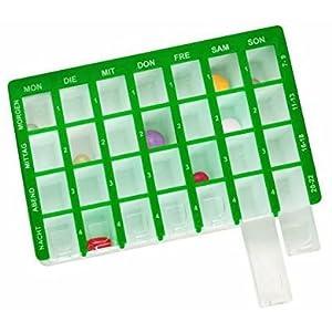 Pflegehome24® Arzneikassette Pillenbox Pillendose, Grün 7-Tage, 1 Woche