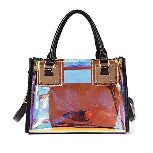 AlwaySky Damenmode Transparente Tasche 2 in 1 Handtasche Top Griff Tote Schulter Crossbody Tasche (Laser-Schwarz) -