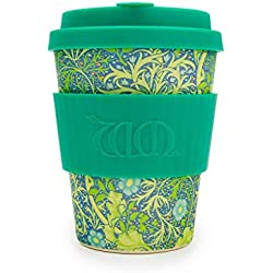 Ecoffee Cup Bamboo - 340 ml William Morris Seaweed Marine With Turqoise Silicone