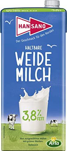 Hansano Haltbare Weidemilch 3.8%, Leckere H-Milch von den grünen Wiesen Norddeutschlands, 1 l Milch