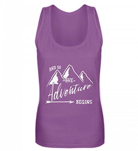 Shirtee Hochwertiges Frauen Tanktop - Das Abenteuer Beginnt - Für Alle Bergwanderer, Wandersleute, Abenteurer und Reisende (Alpine Pfeil)