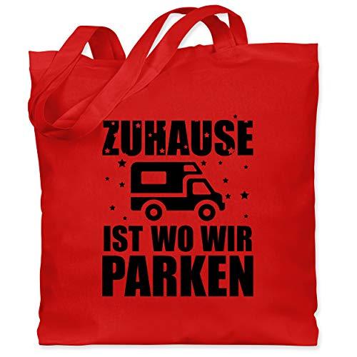 Shirtracer Hobby - Zuhause ist wo wir parken - schwarz - Unisize - Rot - WM101 - Stoffbeutel aus Baumwolle Jutebeutel lange Henkel