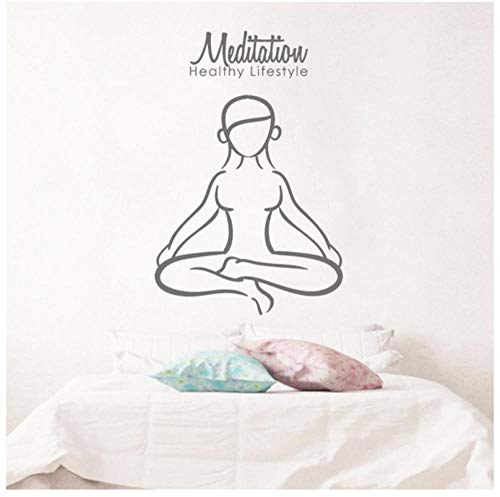 Wandtattoo Meditation Yoga Lotus Pose Vinyl Wandaufkleber Zitate Gesunder Lebensstil Buddhismus Interior Woman Decor DIY57x85cm - Womens Gesund
