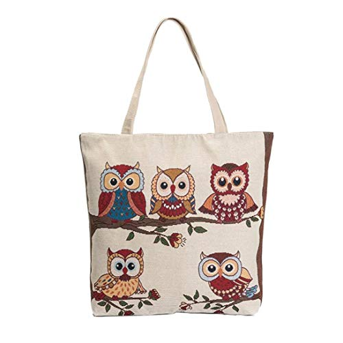 Felicove Canvas Taschen Tote Lässig Strandtaschen Frauen Einkaufstasche Handtaschen mit Eule