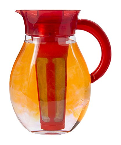 Primula Iced Tea Brewer - Spacious and Innovative Infusion Chamber - 100% BPA, PVC, Phthalate, and Lead Free - For Hot or Iced Tea and Other Beverages - 3.78 Liters - Red by Primula -