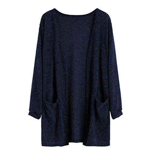 URSING Damen Lang Kimono Cardigan Casual Langarm Pullover Strickjacke Strickmantel mit Taschen Herbst Leisure Classic Modern leicht wattiert übergangs Sweatjacke (XL, Blau)