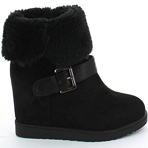 Ideal Shoes–Stiefelette gefüttert mit Riemen Hilarie Schwarz - Schwarz